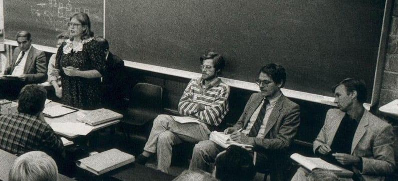 The founding meeting of BIEN in Louvain-la-Neuve (Belgium), 1986. From left to right on stage: Riccardo Petrella, Greetje Lubbi, Anne Miller, Nic Douben, Philippe Van Parijs, Claus Offe, Bill Jordan.