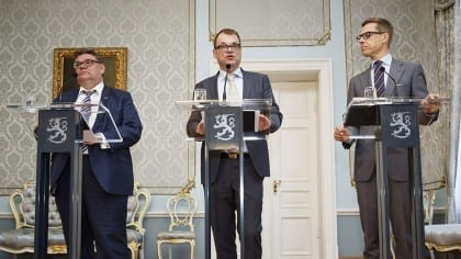 Leaders of the three parties in the Finnish government