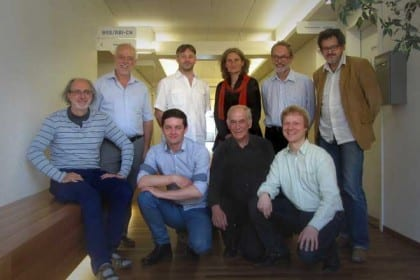 Founding members of the National Campaign for UBI. From left to right: Ralph Kundig, Ägidius Jung, Charly Pache, Markus Hartl, Marianne Hubmann, Laurent Rebeaud, Gabriel Barta, Daniel Wittig et Gian Linard Nicolay.