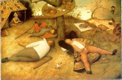 "Detail from Pieter Bruegel the Elder's ""Luilekkerland"" (""The Land of Cockaigne""), 1567"