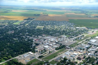 An aerial shot of the town of Dauphin, Manitoba, which was the saturation site for Manitoba Mincome, meaning most residents of the town received income support during that unique basic income trial.