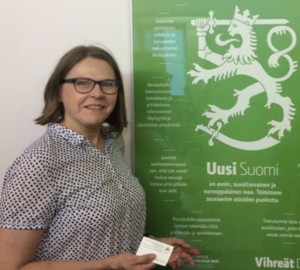 Heidi Hautala at the headquarters of the Green League