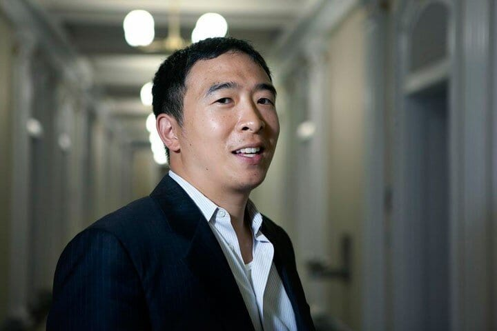 United States: Presidential candidate Andrew Yang speaks on Merion West