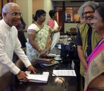 On the left: Eran Wickramaratne. On the right: Sarath Davala and Selvi Sachidanandam.