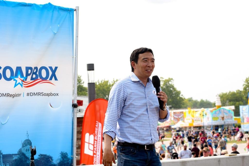 USA: Presidential Hopeful Andrew Yang speaks at the Register's Political Soapbox