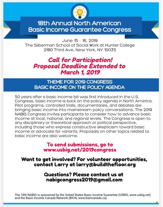 United States and Canada: North American BIG Congress proposal deadline extended.